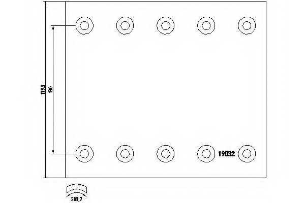 Комплект тормозных башмаков барабанного тормоза <b>TEXTAR 1903234</b> - изображение