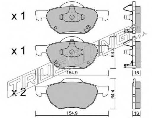 Комплект тормозных колодок задний <b>TRUSTING 7460</b> - изображение