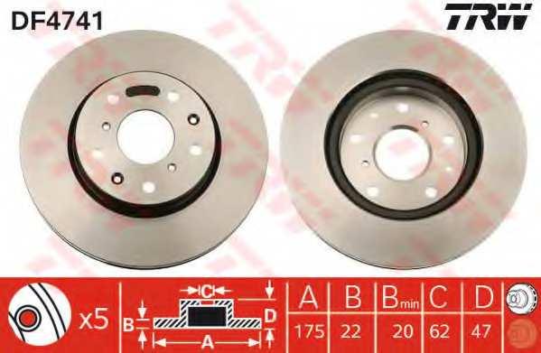 Тормозной диск TRW DF4741 - изображение