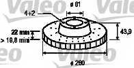 Тормозной диск VALEO 186764 - изображение