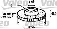 Тормозной диск VALEO 186765 - изображение