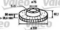 Тормозной диск VALEO 186808 - изображение