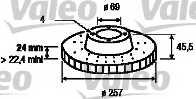 Тормозной диск VALEO 186823 - изображение