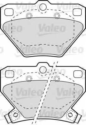 Колодки тормозные дисковые задний для TOYOTA CELICA, COROLLA, PRIUS, YARIS <b>VALEO 598577</b> - изображение