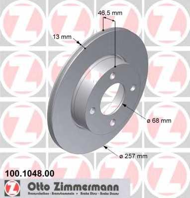 Тормозной диск ZIMMERMANN 100.1048.00 - изображение