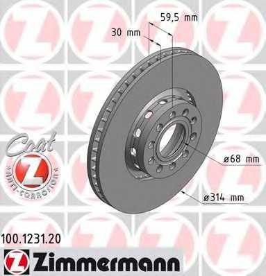 Тормозной диск ZIMMERMANN 100.1231.20 - изображение