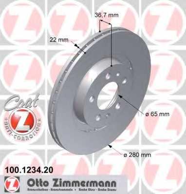 Тормозной диск ZIMMERMANN 100.1234.20 - изображение