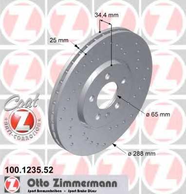 Тормозной диск ZIMMERMANN 100.1235.52 - изображение