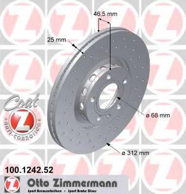 Тормозной диск ZIMMERMANN 100.1242.52 - изображение