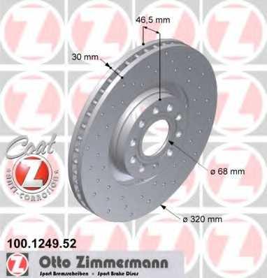 Тормозной диск ZIMMERMANN 100.1249.52 - изображение
