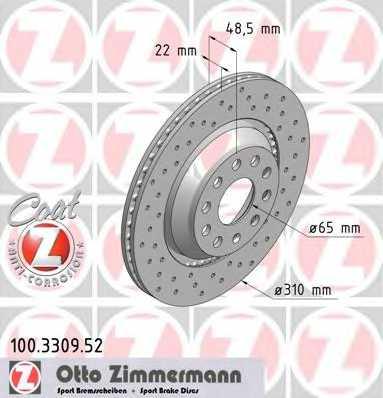 Тормозной диск ZIMMERMANN 100.3309.52 - изображение