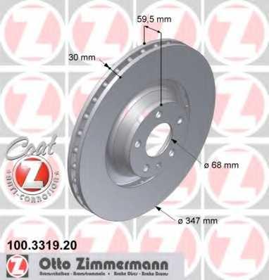 Тормозной диск ZIMMERMANN 100.3319.20 - изображение