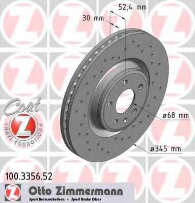 Тормозной диск ZIMMERMANN 100.3356.52 - изображение