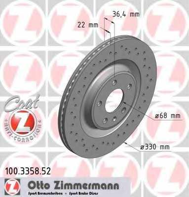Тормозной диск ZIMMERMANN 100.3358.52 - изображение