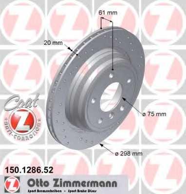 Тормозной диск ZIMMERMANN 150.1286.52 - изображение