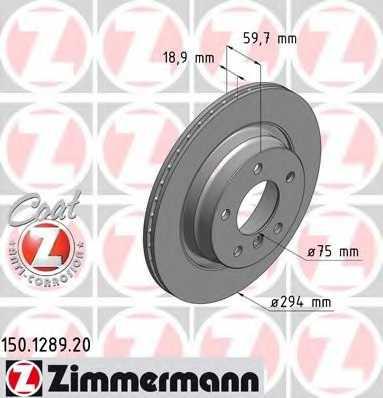 Тормозной диск ZIMMERMANN 150.1289.20 - изображение