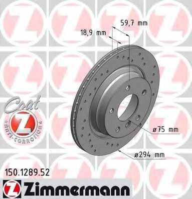 Тормозной диск ZIMMERMANN 150.1289.52 - изображение