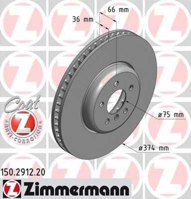 Тормозной диск ZIMMERMANN 150.2912.20 - изображение