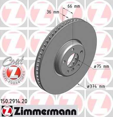Тормозной диск ZIMMERMANN 150.2914.20 - изображение