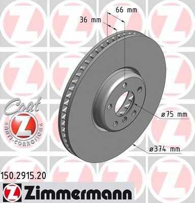 Тормозной диск ZIMMERMANN 150.2915.20 - изображение