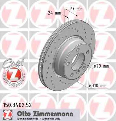 Тормозной диск ZIMMERMANN 150.3402.52 - изображение