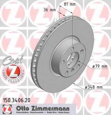Тормозной диск ZIMMERMANN 150.3406.20 - изображение