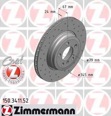 Тормозной диск ZIMMERMANN 150.3411.52 - изображение