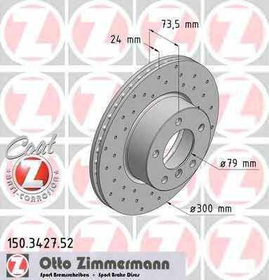 Тормозной диск ZIMMERMANN 150.3427.52 - изображение