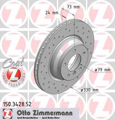 Тормозной диск ZIMMERMANN 150.3428.52 - изображение
