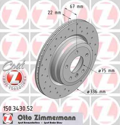 Тормозной диск ZIMMERMANN 150.3430.52 - изображение