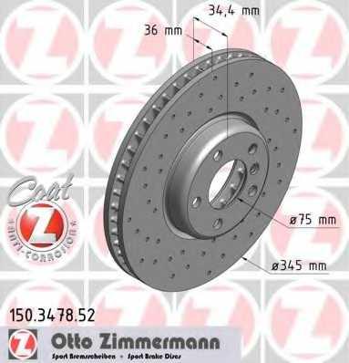 Тормозной диск ZIMMERMANN 150.3478.52 - изображение