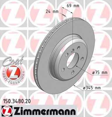 Тормозной диск ZIMMERMANN 150.3480.20 - изображение