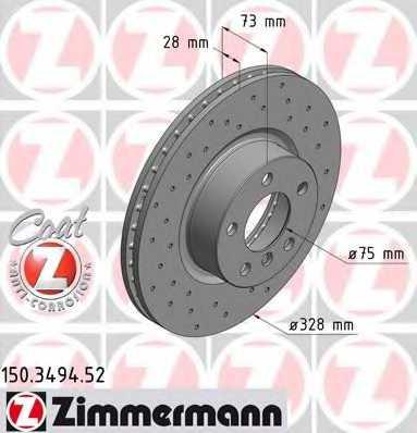 Тормозной диск ZIMMERMANN 150.3494.52 - изображение
