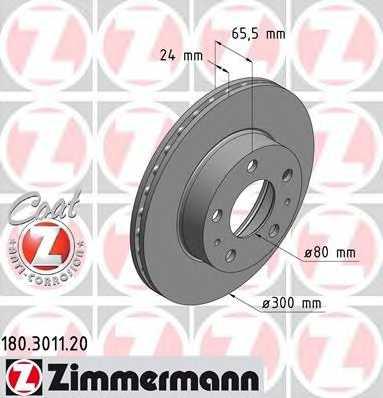 Тормозной диск ZIMMERMANN 180.3011.20 - изображение
