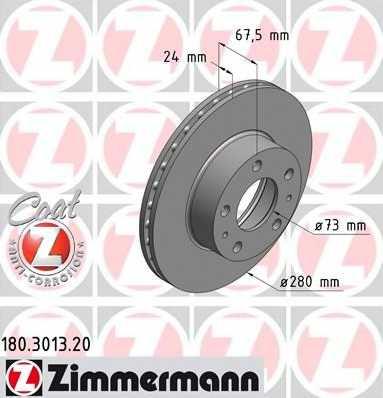 Тормозной диск ZIMMERMANN 180.3013.20 - изображение