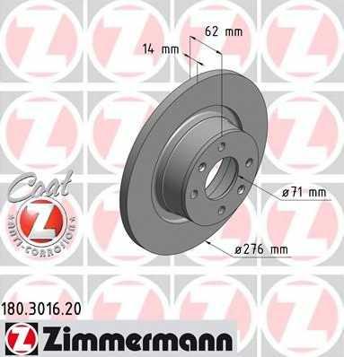 Тормозной диск ZIMMERMANN 180.3016.20 - изображение