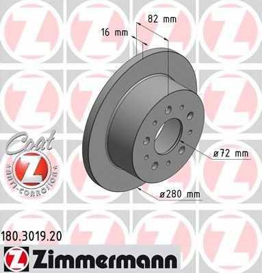 Тормозной диск ZIMMERMANN 180.3019.20 - изображение