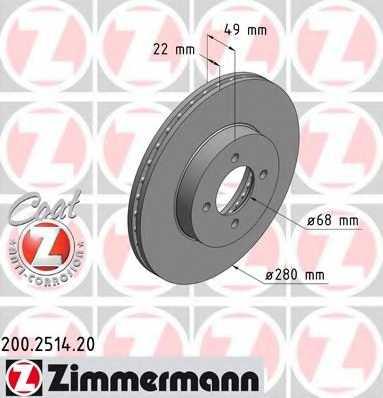 Тормозной диск ZIMMERMANN 200.2514.20 - изображение