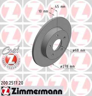 Тормозной диск ZIMMERMANN 200.2517.20 - изображение