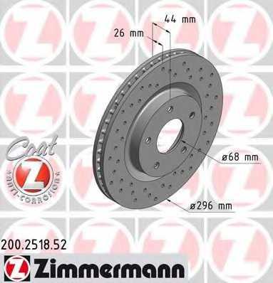 Тормозной диск ZIMMERMANN 200.2518.52 - изображение