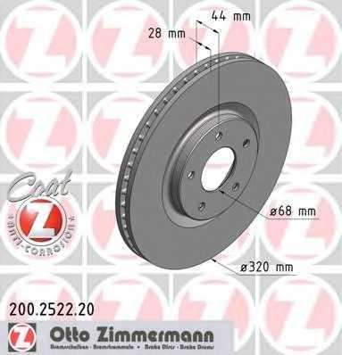 Тормозной диск ZIMMERMANN 200.2522.20 - изображение