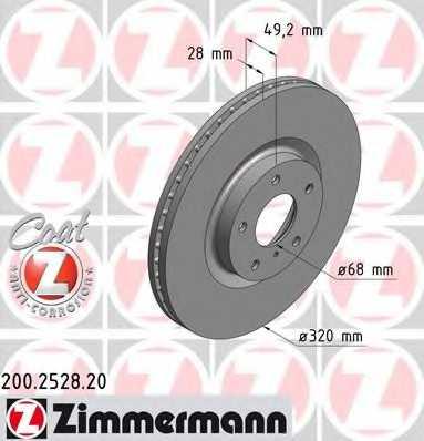 Тормозной диск ZIMMERMANN 200.2528.20 - изображение
