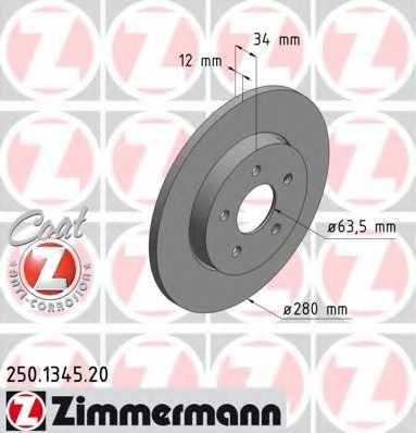 Тормозной диск ZIMMERMANN 250.1345.20 - изображение