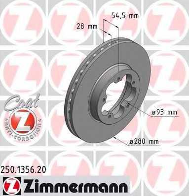 Тормозной диск ZIMMERMANN 250.1356.20 - изображение