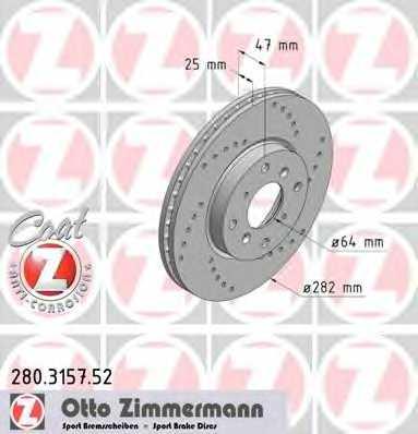 Тормозной диск ZIMMERMANN 280.3157.52 - изображение