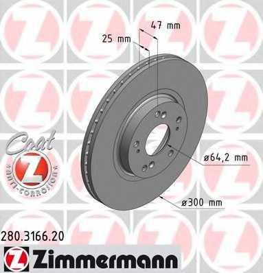 Тормозной диск ZIMMERMANN 280.3166.20 - изображение
