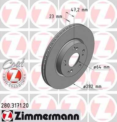 Тормозной диск ZIMMERMANN 280.3171.20 - изображение