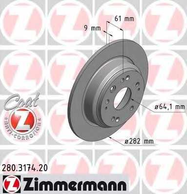 Тормозной диск ZIMMERMANN 280.3174.20 - изображение