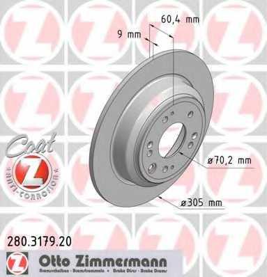 Тормозной диск ZIMMERMANN 280.3179.20 - изображение