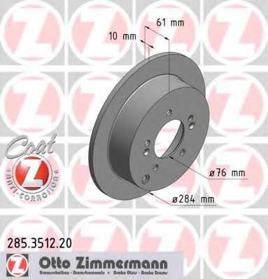 Тормозной диск ZIMMERMANN 285.3512.20 - изображение